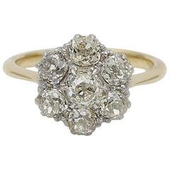 Art Deco 2.60 Carat Old Mine Cut Diamond Cluster Engagement Ring