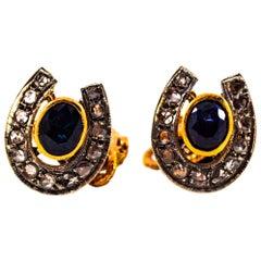 Art Deco Style 2.61 Carat Diamond Ruby Blue Sapphire Onyx Yellow Gold Cufflinks