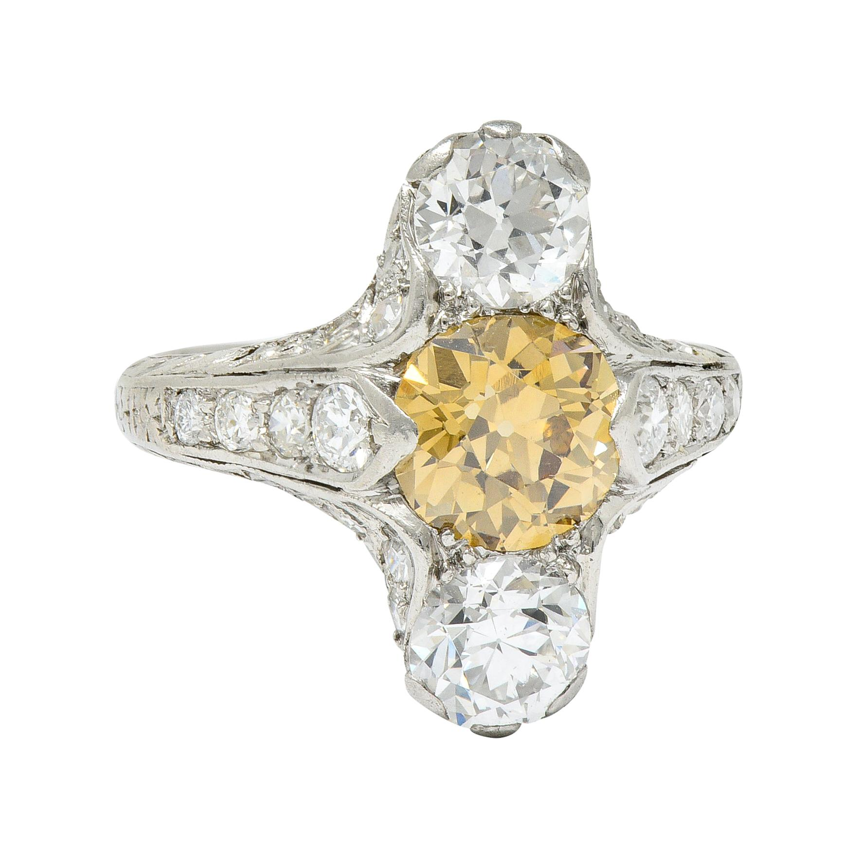 Art Deco 2.62 Carat Fancy Diamond & White Diamond Platinum Dinner Ring