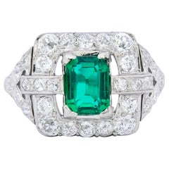 Art Deco 2.66 Carat Colombian Emerald Diamond Platinum Dinner Ring GIA