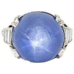 Art Deco 26.62 Carats Star Sapphire Diamond Platinum Cocktail Ring Circa 1930