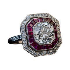Art Deco 2.67 Carat Diamond Ruby Platinum Engagement Ring