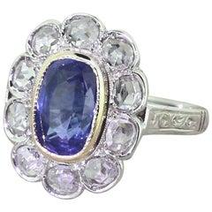 Art Deco 2.67 Carat Sapphire and Rose Cut Diamond Cluster Ring