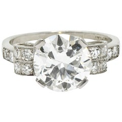 Art Deco 2.68 Carat Diamond Platinum Sunburst Engagement Ring GIA