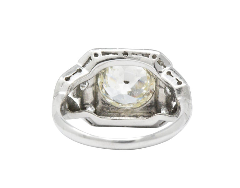 Women's or Men's Art Deco 2.69 Carats Diamond Platinum Cushion Foliate Engagement Ring GIA For Sale