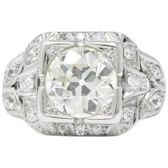 Art Deco 2.69 Carats Diamond Platinum Cushion Foliate Engagement Ring GIA