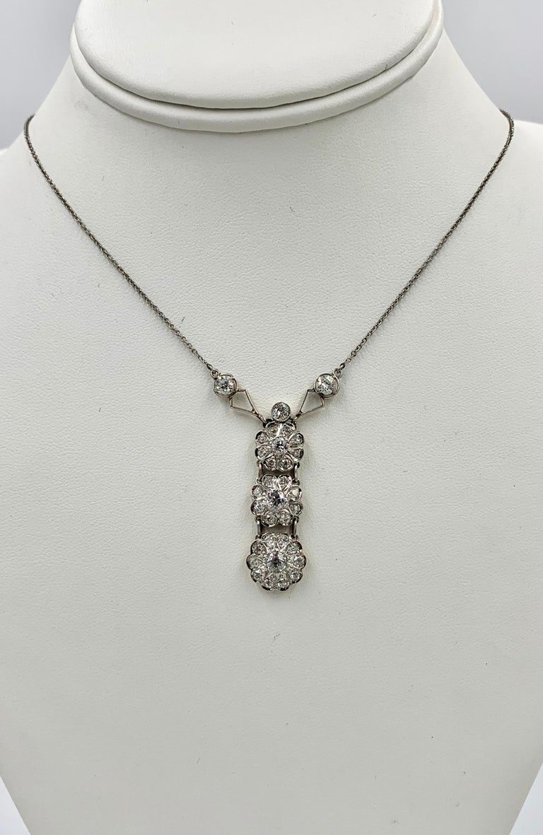 Women's Art Deco 2.7 Carat Old European Cut Diamond Platinum Pendant Necklace Antique For Sale
