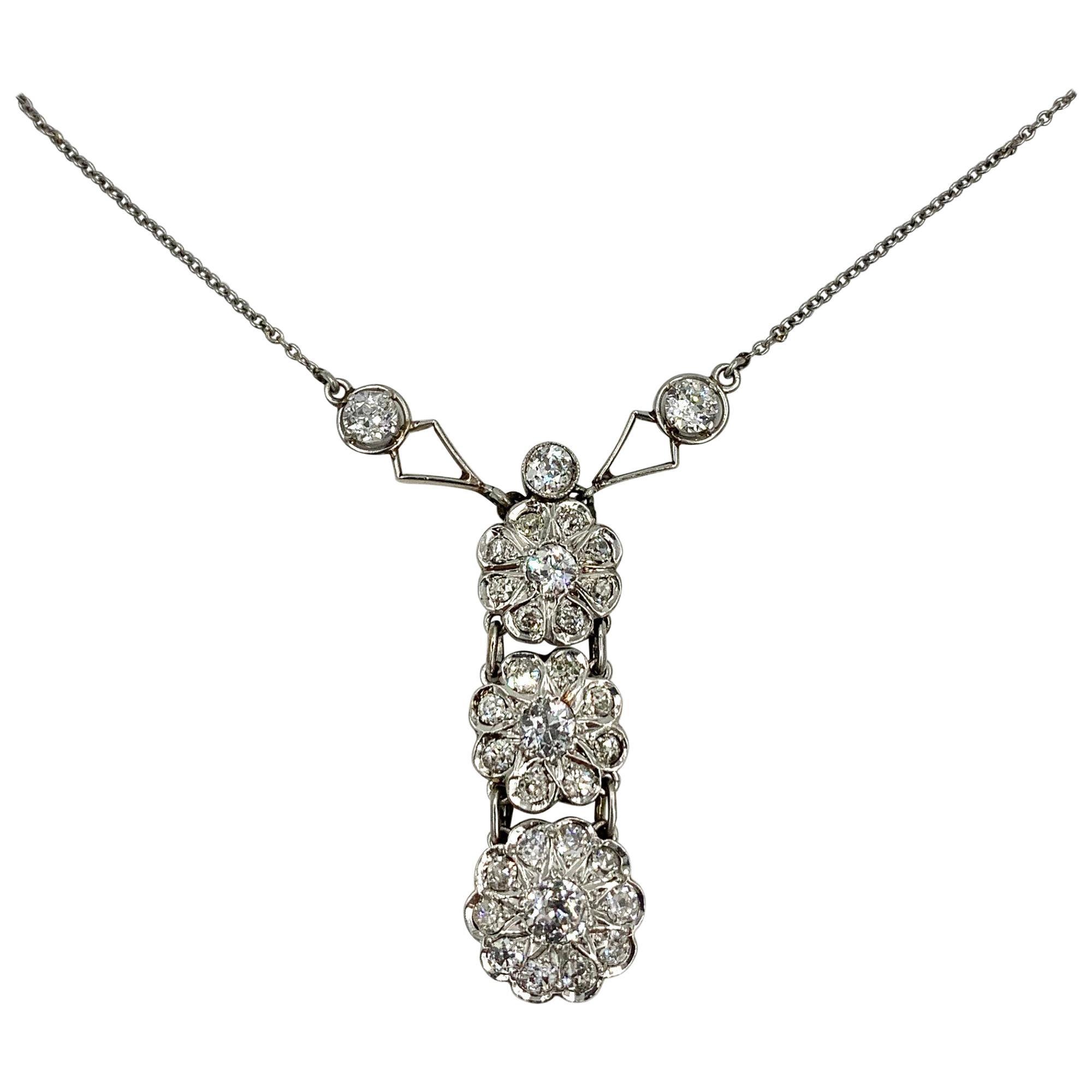 Art Deco 2.7 Carat Old European Cut Diamond Platinum Pendant Necklace Antique