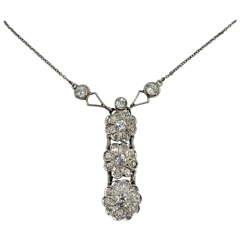 Art Deco 2.7 Carat Old European Cut Diamond Platinum Pendant Necklace Antique For Sale