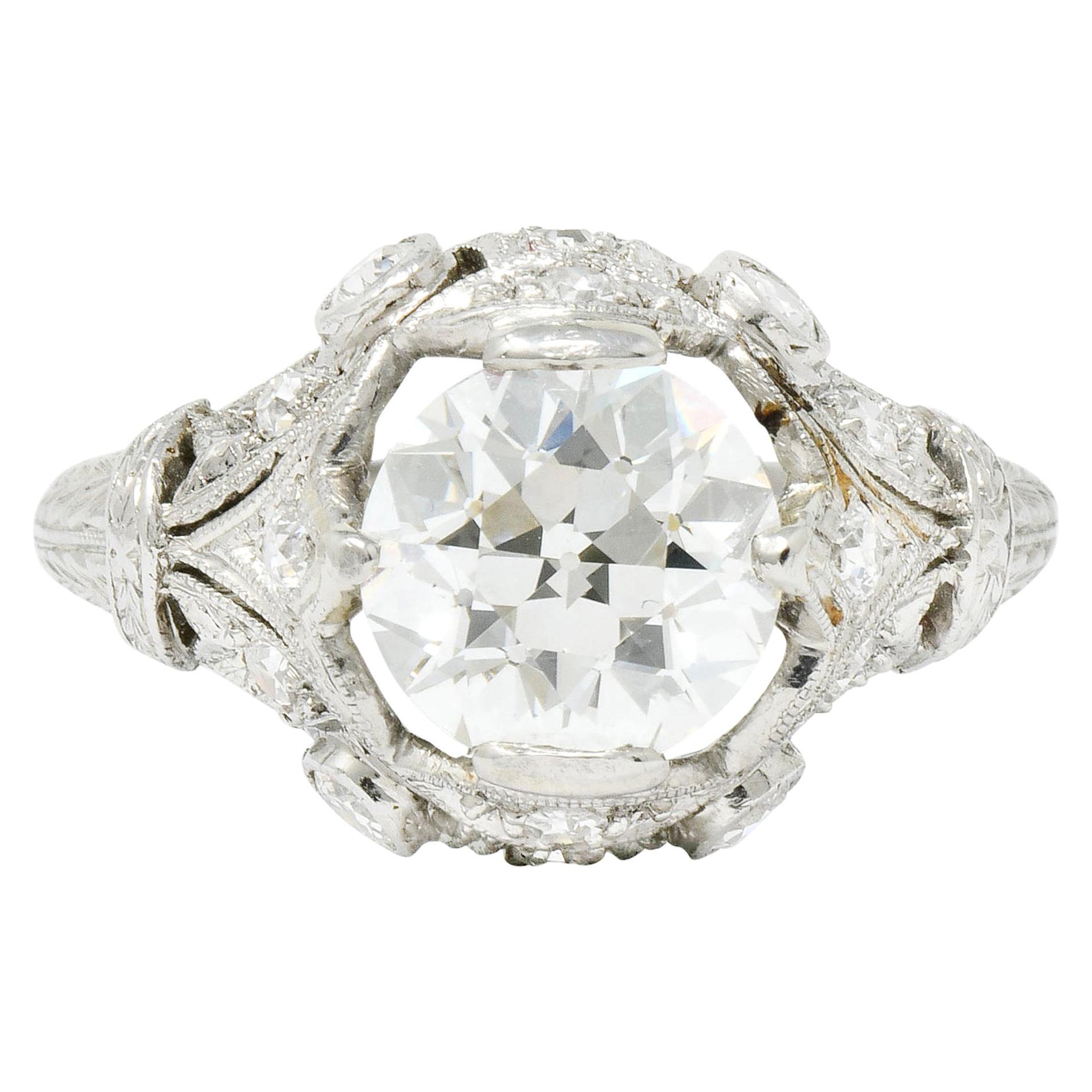 Art Deco 2.71 Carat Diamond Platinum Foliate Engagement Ring GIA