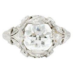 Art Deco 2.71 Carat Diamond Platinum Foliate Engagement Ring GIA
