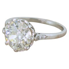 Art Deco 2.71 Carat Old Cut Diamond Engagement Ring
