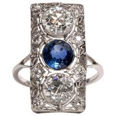 Art Deco 2.76 Carat European Cut Diamond Blue Sapphire Platinum Filigree Ring