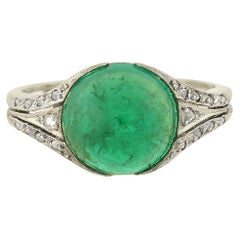 Art Deco 2.80 Carat AGL Certified Columbian Emerald Cabochon and Diamond Ring