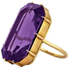 Art Deco 28.05 Amethyst Gold Statement Ring