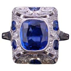 Art Deco Style 2.83 Carat Burma Blue Sapphire and Diamond Platinum Ring