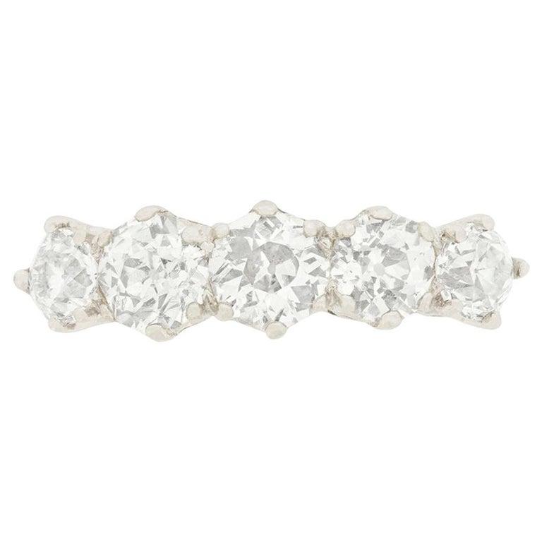 Art Deco 2.85 Carat Diamond Five-Stone Engagement Ring, circa 1920s For Sale
