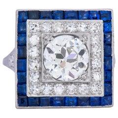 Art Deco 2.90 Carat Diamond Sapphire Cocktail Platinum Dinner Ring GIA
