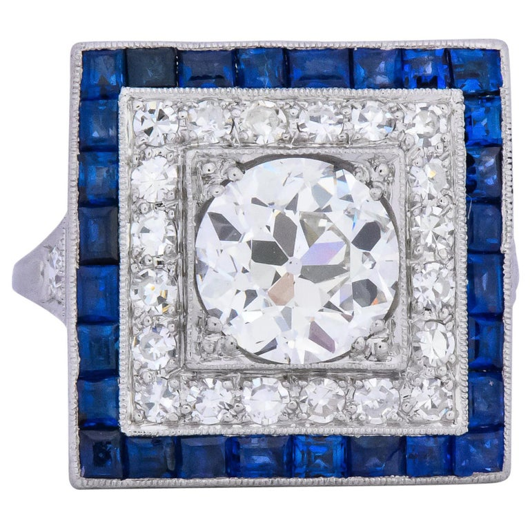 Art Deco 2.90 Carat Diamond Sapphire Cocktail Platinum Dinner Ring GIA For Sale
