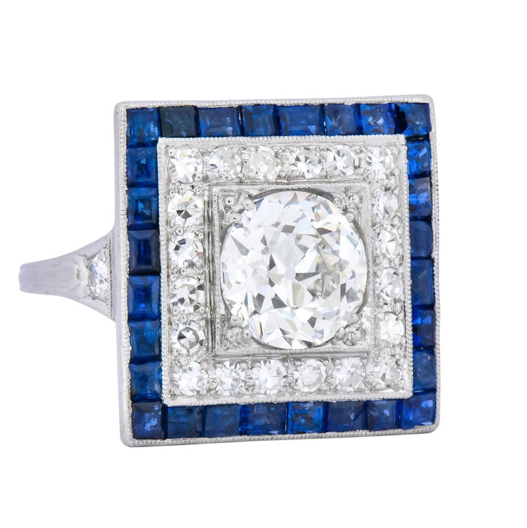 Old European Cut Art Deco 2.90 Carat Diamond Sapphire Cocktail Platinum Dinner Ring GIA For Sale