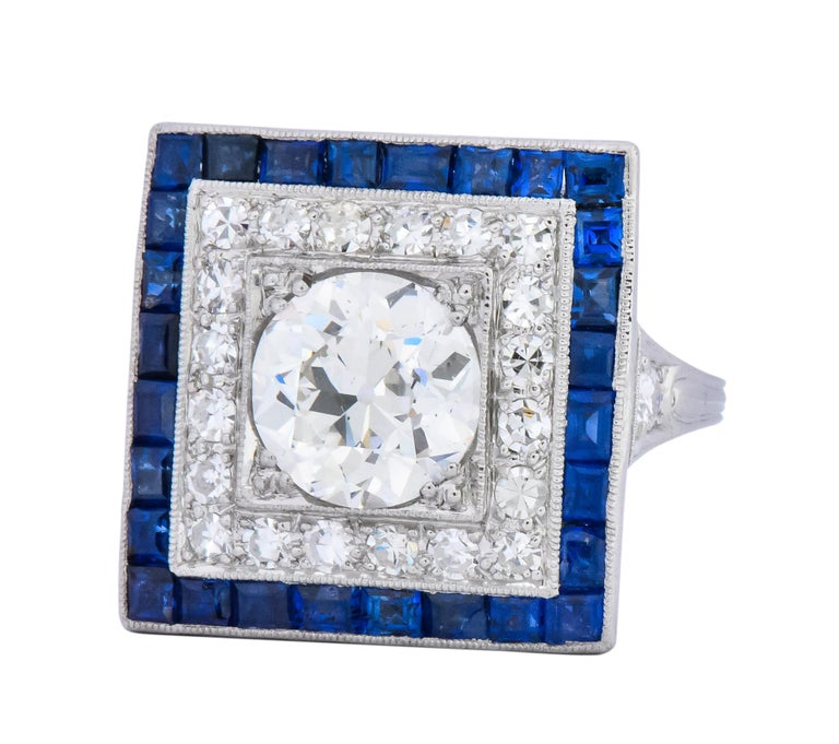 Women's or Men's Art Deco 2.90 Carat Diamond Sapphire Cocktail Platinum Dinner Ring GIA For Sale