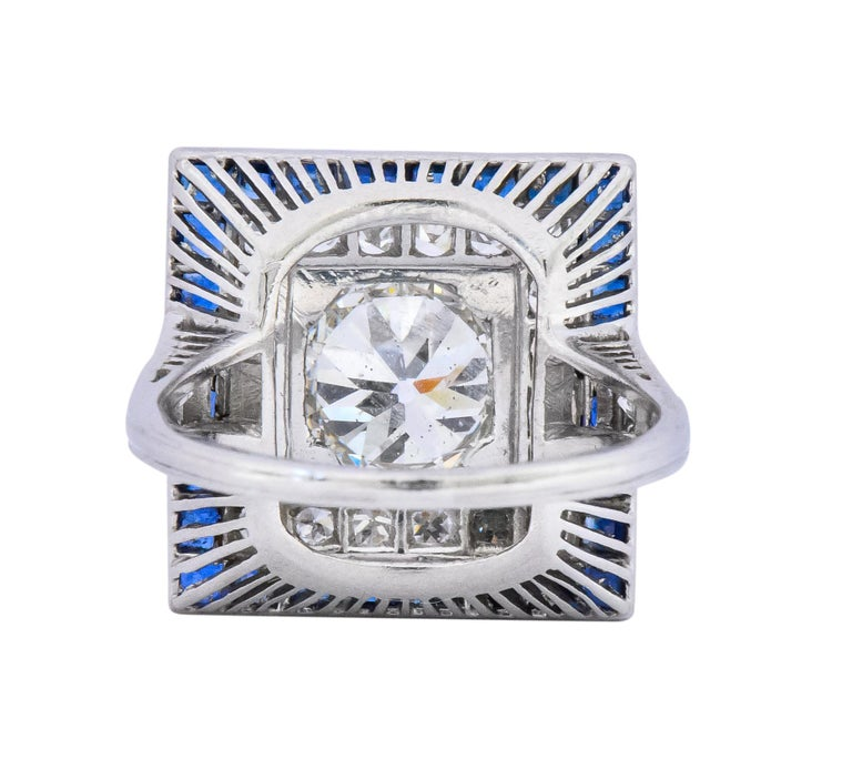 Art Deco 2.90 Carat Diamond Sapphire Cocktail Platinum Dinner Ring GIA For Sale 1