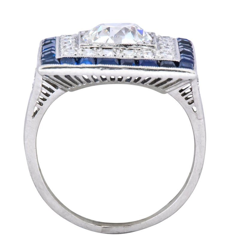 Art Deco 2.90 Carat Diamond Sapphire Cocktail Platinum Dinner Ring GIA For Sale 2