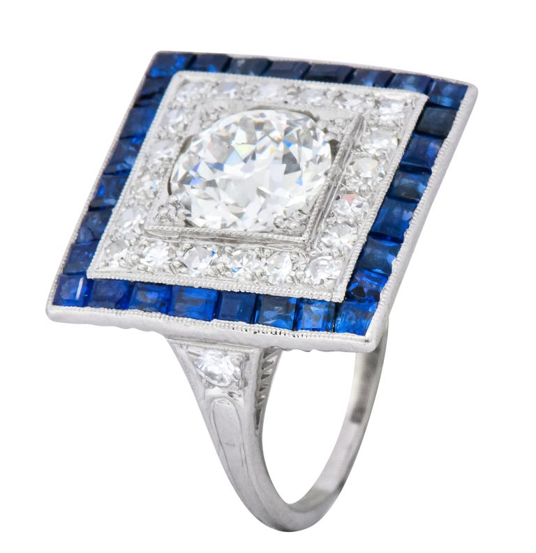 Art Deco 2.90 Carat Diamond Sapphire Cocktail Platinum Dinner Ring GIA For Sale 3