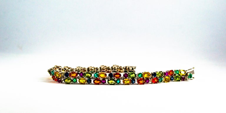 Art Deco Style 29.00 Carat Emerald Ruby Blue Yellow Green Sapphire Gold Bracelet For Sale 9