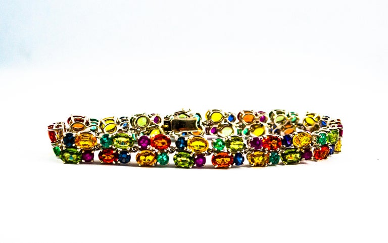 Art Deco Style 29.00 Carat Emerald Ruby Blue Yellow Green Sapphire Gold Bracelet In New Condition For Sale In Naples, IT