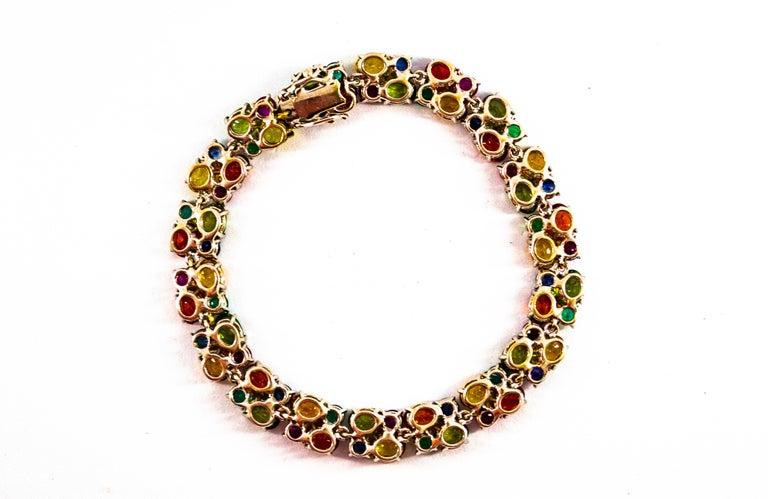 Women's or Men's Art Deco Style 29.00 Carat Emerald Ruby Blue Yellow Green Sapphire Gold Bracelet For Sale