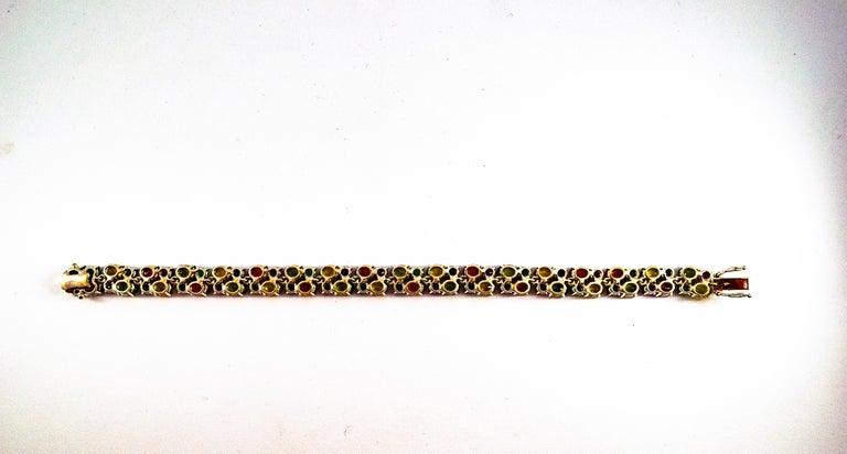 Art Deco Style 29.00 Carat Emerald Ruby Blue Yellow Green Sapphire Gold Bracelet For Sale 4