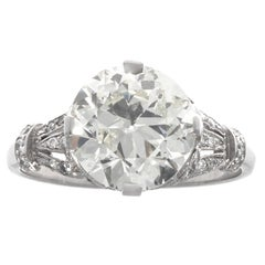 Art Deco 2.93 Carat Diamond Platinum Ring