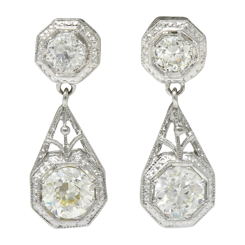 Art Deco 2.96 Carats Diamond Platinum Octagonal Drop Earrings