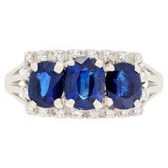Art Deco 2ct Sapphire and Diamond Three Stone Ring, c.1930s