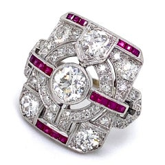 Art Deco 3 Carat Diamond and Ruby Tablet or Plaque Ring in Platinum, Circa 1925