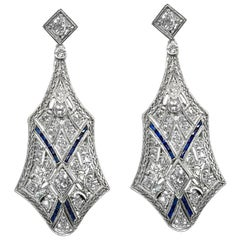 Art Deco 3 Carat Diamond Platinum Earrings