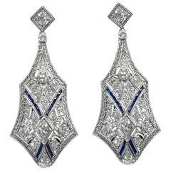 Art Deco 3 Carat Diamond Platinum Earrings