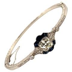 Art Deco 3 Carat Diamond Sapphire Bracelet