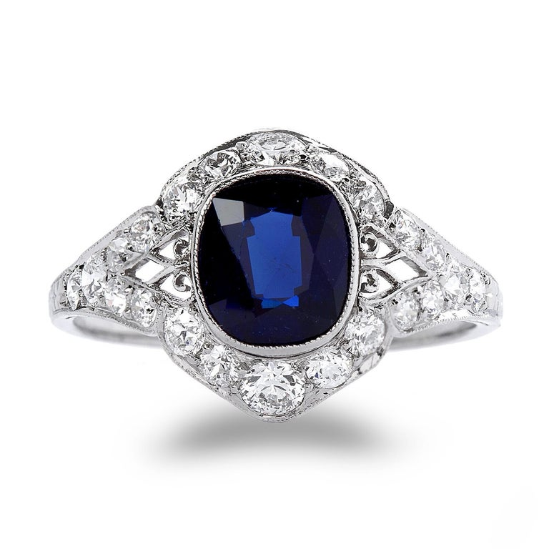 Art Deco 3 Carat No Heat Sapphire Ring In Excellent Condition For Sale In New York, NY