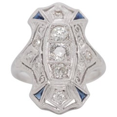 Art Deco 3 Old Euro Cut Diamonds Blue Sapphires Platinum Shield Ring