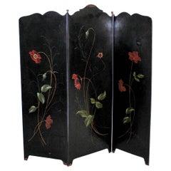 Art Deco 3-Panel Folding Screen or Room Divider Black Metal Brass Details, Franc