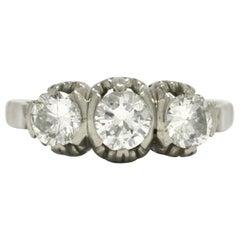 Art Deco 3-Stone Diamond Platinum Engagement Ring Trinity Band Fleur De Lis