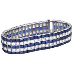 Art Deco 30 Carat Sapphires 10 Carat Diamonds Platinum Tennis Bracelet, 1920