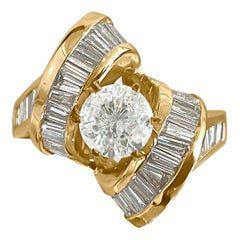Art Deco Style 3.00 Carat Diamond Engagement Ring 14 Karat Yellow Gold