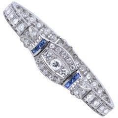 Art Deco 3.00 Carat Diamond Sapphire Platinum Bracelet