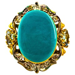 Art Deco Style 3.00 Carat Diamond Aquamarine Turquoise Yellow Gold Cocktail Ring