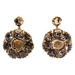 Art Deco 3.00 Carat White Rose Cut Diamond Yellow Gold Dangle Earrings