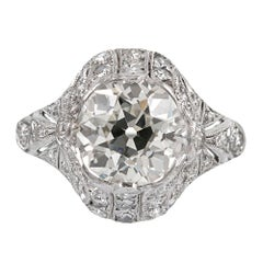 Art Deco 3.03 Carat Center Diamond Ring