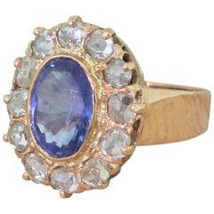 Art Deco 3.05 Carat Sapphire and Rose Cut Diamond Ring